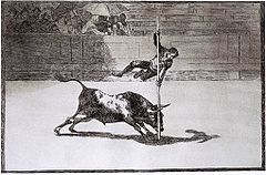 Goya vaulting over a bull
