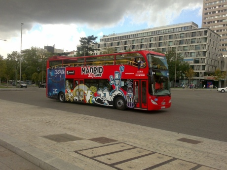 Tourist bus Columbus Square Madrid Spain