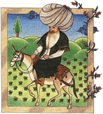 Nasreddin on his donkey