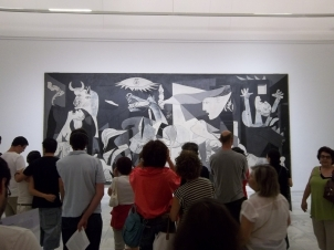 Tourists at Picasso's Guernica, Madrid, Spain