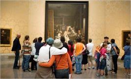tourists at Las Meninas Prado museum Madrid
