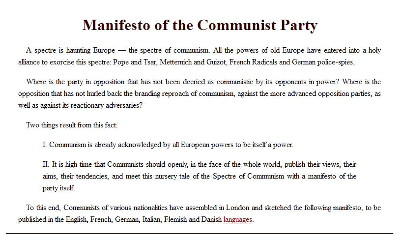 argumentative essay communist manifesto Marx, bourgeoisie and proletariat - the communist manifesto | 1000331.